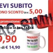 5 euro di sconto sull'acquisto di una tazza personalizzata
